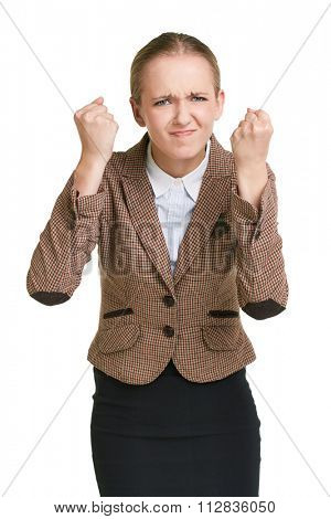 Dissatisfied businesswoman showing fists in isolation