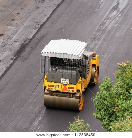 Road Vehicle For Compacting Asphalt.