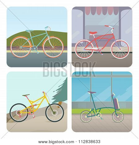 Bicycle set, vector illustrations