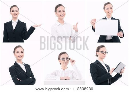 Businesswoman during presentation with multiple objects.