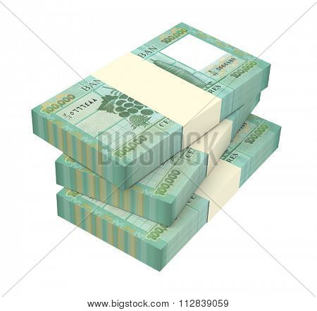 Lebanese pounds isolated on white background Computer generated 3D photo rendering