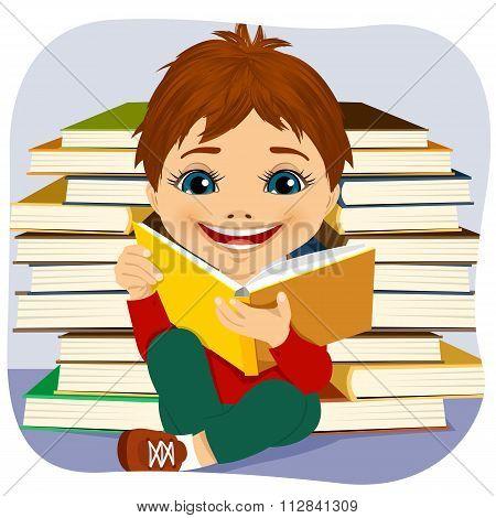 little boy reading an interesting book