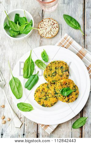 Quinoa Spinach Chickpeas Pumpkin Fritters