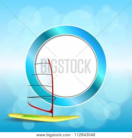 Abstract background sea sport holidays design red green windsurfing blue circle frame illustration