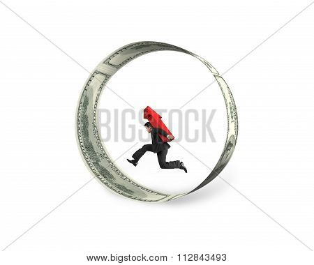 Businessman Carrying Red Arrow Up Running In Circle Of Dollar Bills