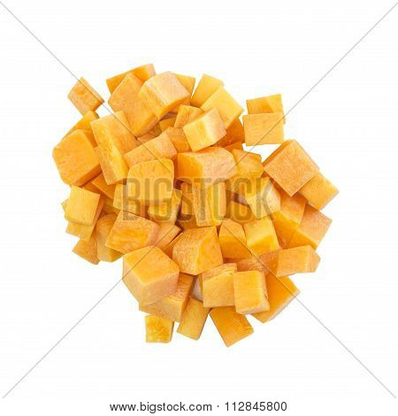 Carrots Dice Cut Raw Ingredient Top View