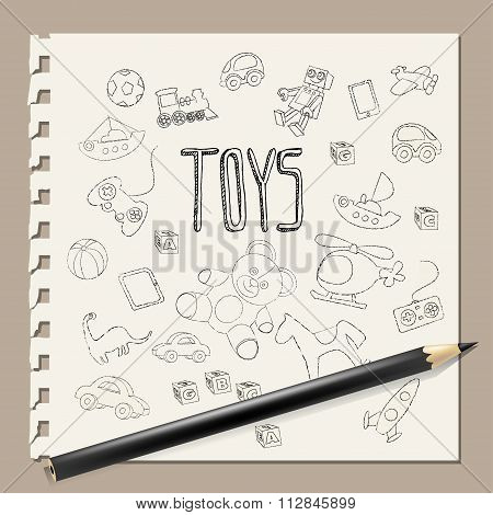 hand draw doodle toys