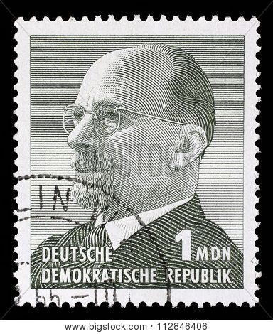 GERMAN DEMOCRATIC REPUBLIC - CIRCA 1963: A stamp printed in Germany shows the leader of East Germany from 1950 to 1971 Walter Ulbricht, circa 1963.
