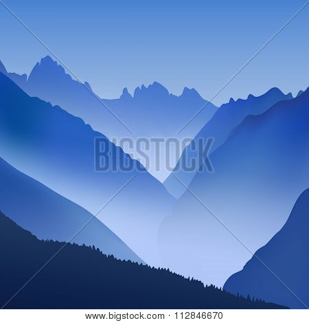 Lifeless Landscape With Huge Mountains. Vector Panorama In Blue Tones.