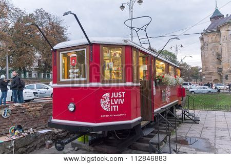 Lviv, Ukraine - October 18, 2015: Well-known Coffee Shop In The Train Retro Tram