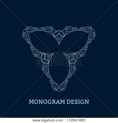 Vector illustration of the linear blue monogram