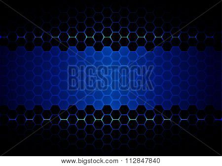 Abstract  Hexagon Blue Ligth And Black Light Technology