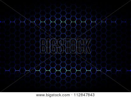 Abstract  Hexagon Blue Ligth Technology On Black Color Background