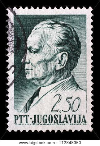YUGOSLAVIA - CIRCA 1968: A stamp printed in Yugoslavia, is depicted Josip Broz Tito, circa 1968