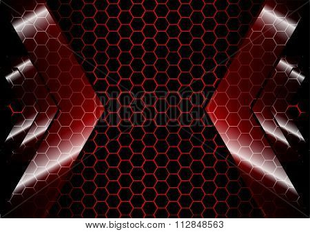 Arrow Backdrop With Hexagon Grid Red Color  Background