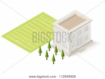 Stock Vector Isometric football school