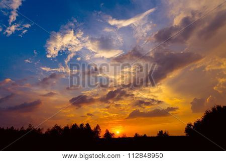 nice sky with clouds at sunset time