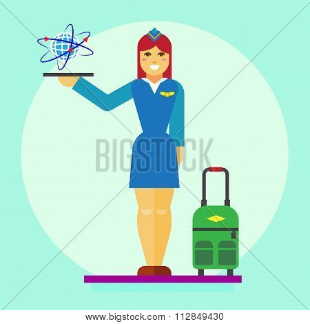 Stewardess icon flat