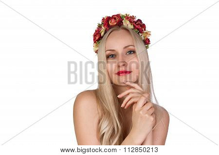 Girl With Flower Chaplet On Her Head