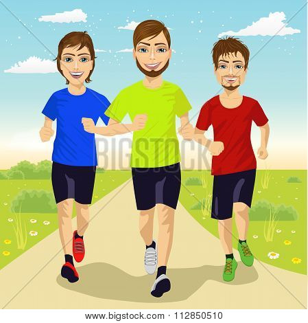 young runner men running outdoors