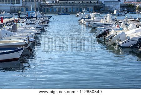 Lots of beautiful yachts moored in harbor