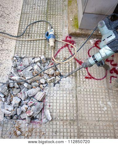 pneumatic hammer drill equipment breaking