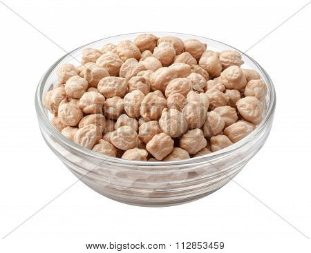 Chickpeas In A Glass Bowl