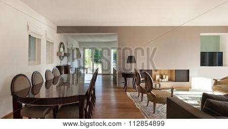 Interior of a furnished house, comfortable dining room