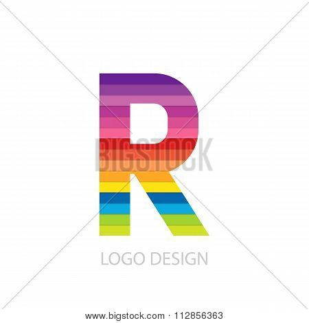 Vector illustration of colorful logo letter