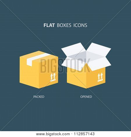 Boxes icons set. Packed box. Opened box.