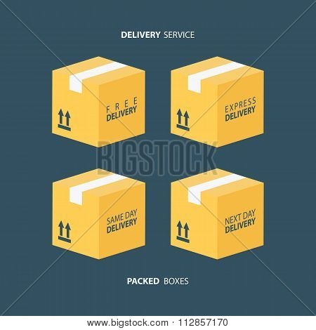 Boxes icons set. Packed boxes. Carton package box icons.