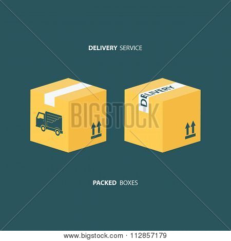 Delivery service. Boxes icons set. Packed boxes.