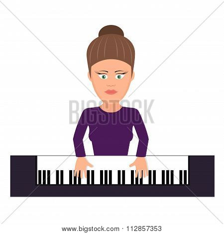 musician behind a grand piano a vector illustration flat style