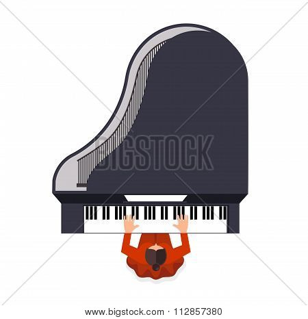 Girl Behind A Grand Piano A Color Icon