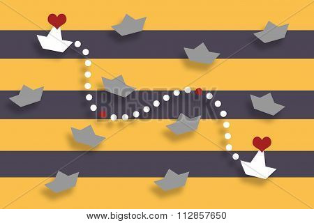 White ships found in the sea. Hurry to a meeting. Valentine's Day. Lovers. Flat with shadows. Two ha