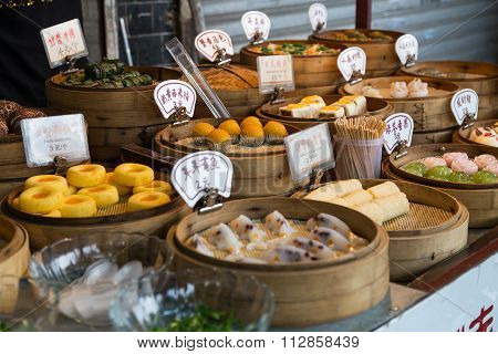 Guilin, China - Circa September 2015: Oriental Asian Desserts Sold At Night Street Market In  China