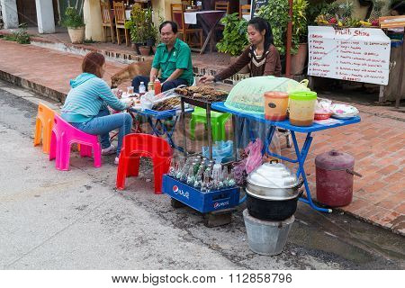Luang Prabang, Laos - Circa August 2015: Roadside Restaurant Serving Food In Luang Prabang,  Laos