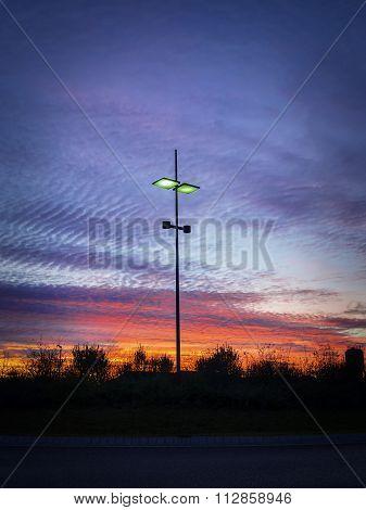Modern Streetlamp At Sunset