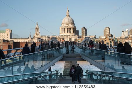 The Millennium Bridge And Saint Paul Cathedral In London