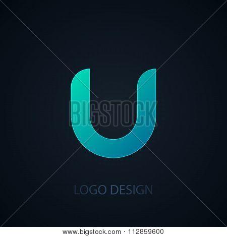 Vector illustration of logo letter u