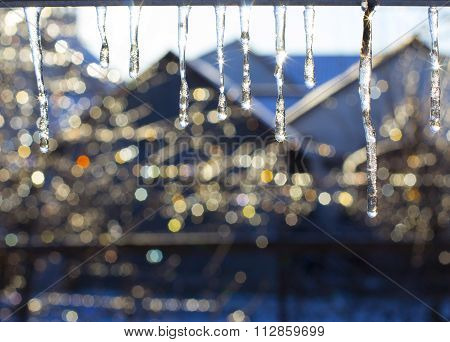 Glowing Icicles on warm sun