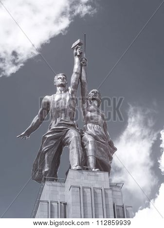 Sculpture Worker And Kolkhoz Woman. Infrared Photography