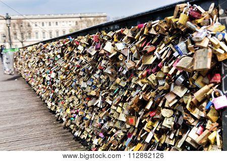 Paris - March 26: Love Padlocks