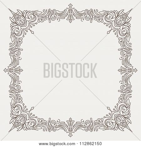 Rich Decorated Square Decorative Frame In Mono Line Style With Rounded Corners