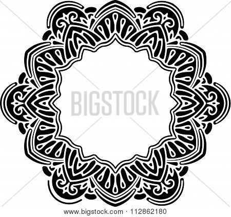 Unusual, Hexagonal, Black Lace Frame, Decorative Element With Empty Place For Your Text. Vector Illu