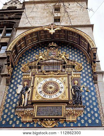 Paris, France: The Conciergerie Clock In Paris