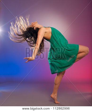 Young Brunette Caucasian Woman Dancing