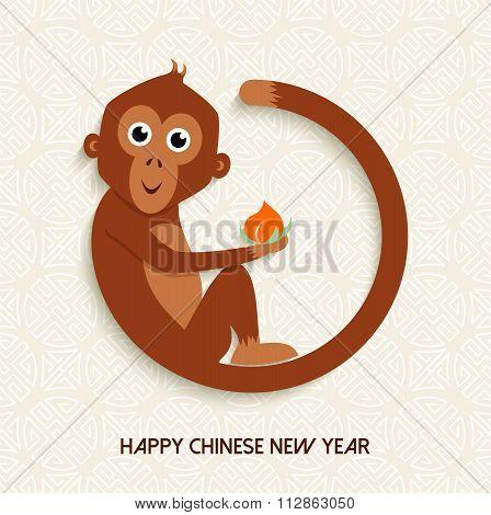 Chinese New Year Monkey 2016 Cute Cartoon Card