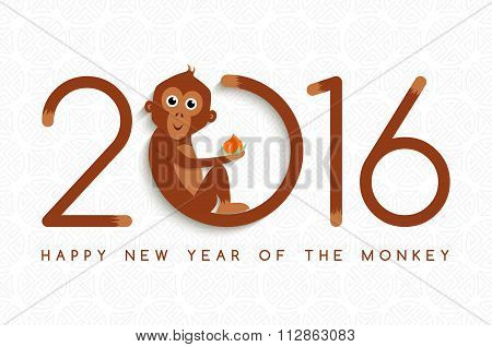 Chinese New Year Monkey 2016 Cute Card