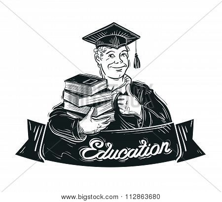 education vector logo design template. school, college, university or student, pupil, graduate icon